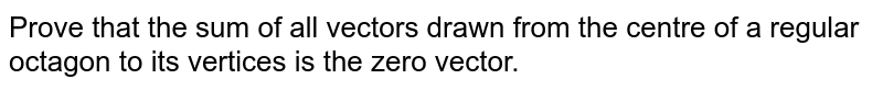 Prove that the sum of all vectors drawn from the centre of a regular   octagon to its vertices is the zero vector.