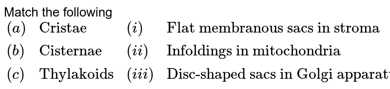 """Match the following  <br> `{:((a), """"Cristae"""" , (i), """"Flat membranous sacs in stroma""""),((b), """"Cisternae"""", (ii), """"Infoldings in mitochondria""""),((c), """"Thylakoids"""", (iii), """"Disc-shaped sacs in Golgi apparatus""""):}`"""