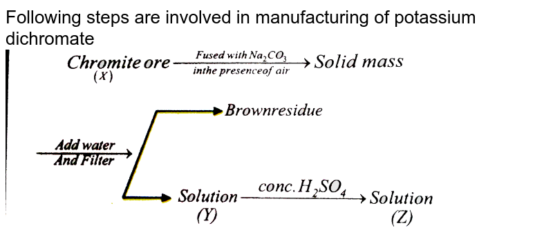 """Following steps are involved in manufacturing of potassium dichromate <br> <img src=""""https://d10lpgp6xz60nq.cloudfront.net/physics_images/NAR_CHM_XII_V04_C01_E01_181_Q01.png"""" width=""""80%"""">"""