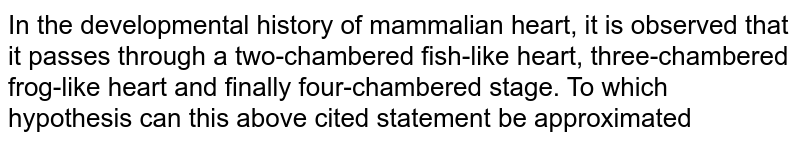 In the developmental history of mammalian heart, it is observed that it passes through a two-chambered fish-like heart, three-chambered frog-like heart and finally four-chambered stage. To which hypothesis can this above cited statement be approximated