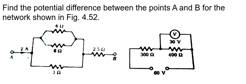 """Find the potential difference between the points A and B for the network shown in Fig. 4.52. <br> <img src=""""https://d10lpgp6xz60nq.cloudfront.net/physics_images/SLA_NP_PHY_XII_C04_E01_068_Q01.png"""" width=""""80%"""">"""