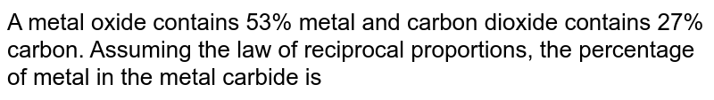 A metal oxide contains 53% metal and carbon dioxide contains 27% carbon. Assuming the law of reciprocal proportions, the percentage of metal in the metal carbide is