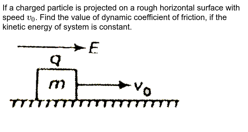 """If a charged particle is projected on a rough horizontal surface with speed `v_(0)`. Find the value of dynamic coefficient of friction, if the kinetic energy of system is constant. <br> <img src=""""https://d10lpgp6xz60nq.cloudfront.net/physics_images/BIT_PHY_C21_E01_024_Q01.png"""" width=""""80%"""">"""