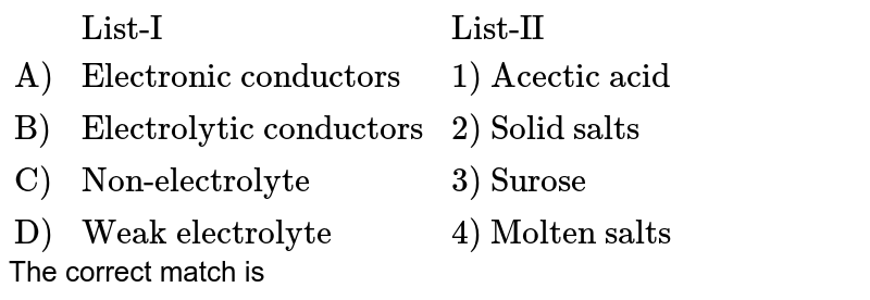 """`{:(,""""List-I"""",""""List-II""""),(""""A)"""",""""Electronic conductors"""",""""1) Acectic acid""""),(""""B)"""",""""Electrolytic conductors"""",""""2) Solid salts""""),(""""C)"""",""""Non-electrolyte"""",""""3) Surose""""),(""""D)"""",""""Weak electrolyte"""",""""4) Molten salts""""):}` <br> The correct match is"""