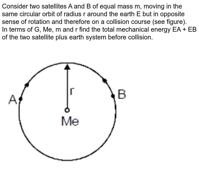 """Consider two satellites A and B of equal mass m, moving in the same circular orbit of  radius r around the earth E but in opposite sense of rotation and therefore on a collision course (see figure). <br>   In terms of G, Me, m and r find the total mechanical energy EA + EB of the two satellite plus earth system before collision. <br> <img src=""""https://d10lpgp6xz60nq.cloudfront.net/physics_images/MOT_CON_JEE_PHY_C11_E03_010_Q01.png"""" width=""""80%"""">"""