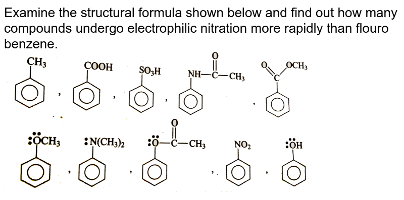 """Examine the structural formula shown  below  and find out  how many  compounds   undergo electrophilic  nitration more rapidly  than flouro benzene.  <br> <img src=""""https://d10lpgp6xz60nq.cloudfront.net/physics_images/GRB_CHM_ORG_HP_C09_E01_328_Q01.png"""" width=""""80%"""">"""