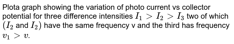 Plota graph showing the variation of photo current vs collector potential for three difference intensities `I_(1) gt I_(2) gt I_(3)` two of which `(I_(2)` and `I_(2))` have the same frequency v and the third has frequency `v_(1) gt v`.