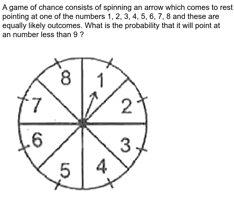 """A game of chance consists of spinning an arrow which comes to rest pointing at one of the numbers 1, 2, 3, 4, 5, 6, 7, 8  and these are equally likely outcomes. What is the probability that it will point at <br>  an number less than 9 ? <br> <img src=""""https://d10lpgp6xz60nq.cloudfront.net/physics_images/SPH_MRJ_MAT_X_C14_E01_027_Q01.png"""" width=""""80%"""">"""