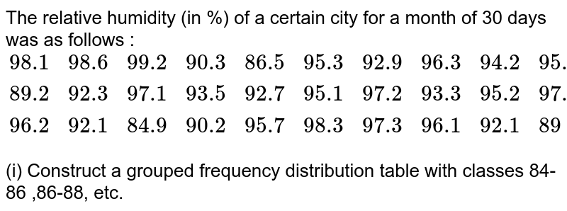 The relative humidity (in %) of a certain city for a month of 30 days was as follows : <br> `{:(98.1,98.6,99.2,90.3,86.5,95.3,92.9,96.3,94.2,95.1),(89.2,92.3,97.1,93.5,92.7,95.1,97.2,93.3,95.2,97.3),(96.2,92.1,84.9,90.2,95.7,98.3,97.3,96.1,92.1,89):}` <br> (i) Construct a grouped frequency distribution table with classes 84-86 ,86-88, etc.