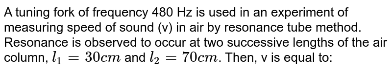 A tuning fork of frequency 480 Hz is used in an experiment of measuring speed of sound (v) in air by resonance tube method. Resonance is observed to occur at two successive lengths of the air column,  `l_(1)=30cm` and `l_(2)=70cm`. Then, v is equal to:
