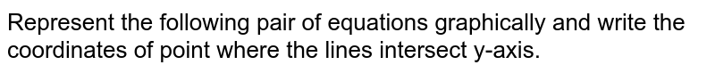Represent the following pair of equations graphically and write the coordinates of point where the lines intersect y-axis.    `x+3y=6` and `2x-3y=12`