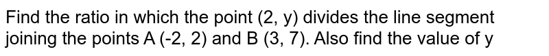 Find the ratio in which the point (2, y) divides the line segment joining the points A (-2, 2) and B (3, 7). Also find the value of y