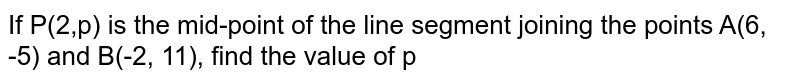 If P(2,p) is the mid-point of the line segment joining the points A(6, -5) and B(-2, 11), find the value of p
