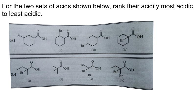 """For the two sets of acids shown below, rank their acidity most acidic to least acidic. <br> <img src=""""https://d10lpgp6xz60nq.cloudfront.net/physics_images/MSC_ORG_CHM_C01_E01_206_Q01.png"""" width=""""80%"""">"""