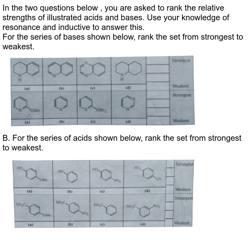 """In the two questions below , you are asked to rank the relative strengths of illustrated acids and bases. Use your knowledge of resonance and inductive to answer this. <br> For the series of bases shown below, rank the set from strongest to weakest. <br> <img src=""""https://d10lpgp6xz60nq.cloudfront.net/physics_images/MSC_ORG_CHM_C01_E01_208_Q01.png"""" width=""""80%"""">  <br> B. For the series of acids shown below, rank the set from strongest to weakest. <br> <img src=""""https://d10lpgp6xz60nq.cloudfront.net/physics_images/MSC_ORG_CHM_C01_E01_208_Q02.png"""" width=""""80%"""">"""