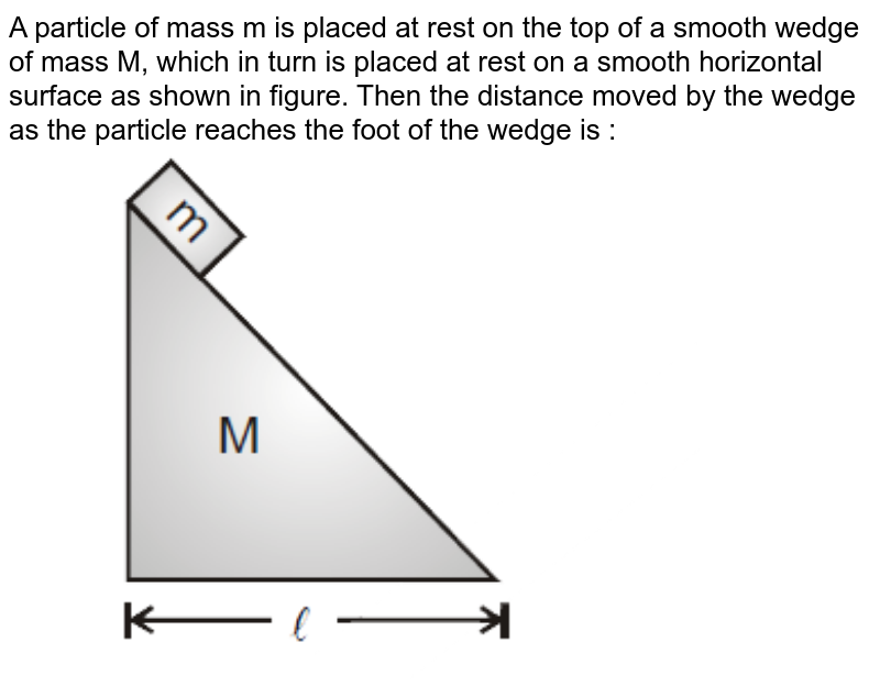 """A particle of mass m is placed at rest on the top of a smooth wedge of mass M, which in turn is placed at rest on a smooth horizontal surface as shown in figure. Then the distance moved by the wedge as the particle reaches the foot of the wedge is : <br> <img src=""""https://d10lpgp6xz60nq.cloudfront.net/physics_images/MOT_CON_JEE_PHY_C09_SLV_019_Q01.png"""" width=""""80%"""">"""