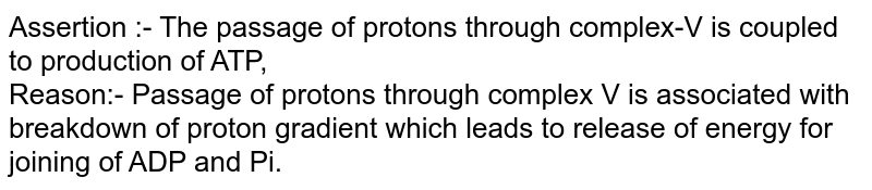 Assertion :- The passage of protons through complex-V is coupled to production of ATP,  <br> Reason:- Passage of protons through complex V is associated with breakdown of proton gradient which leads to release of energy for joining of ADP and Pi.