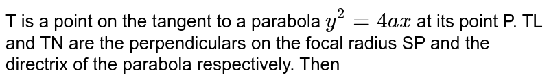 T is a point on the tangent to a parabola `y^(2) = 4ax` at its point P. TL and TN are the perpendiculars on the focal radius SP and the directrix of the parabola respectively. Then