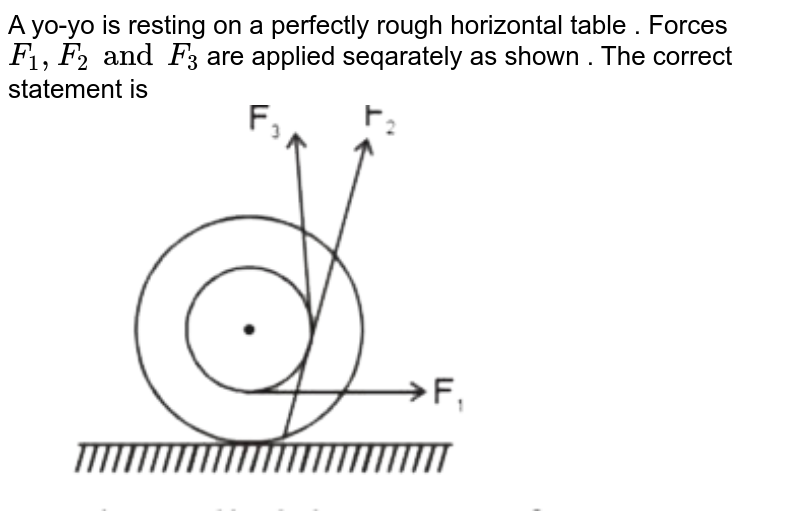 """A yo-yo is resting on a perfectly rough horizontal table . Forces `F_(1), F_(2) and F_(3)`  are applied seqarately  as shown . The correct statement is   <br>  <img src=""""https://d10lpgp6xz60nq.cloudfront.net/physics_images/MOT_CON_JEE_PHY_C10_E02_045_Q01.png"""" width=""""80%"""">"""
