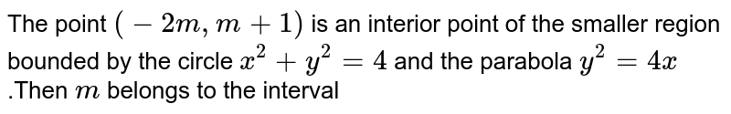 The point `(-2m ,m+1)` is an interior point of the smaller region bounded by the circle `x^(2)+y^(2)=4` and the parabola `y^(2)=4x` .Then `m` belongs to the interval