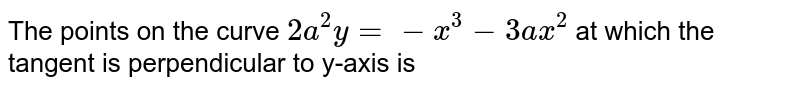 The points on the curve `2a^2y=-x^3-3ax^2` at which the tangent is perpendicular to y-axis is