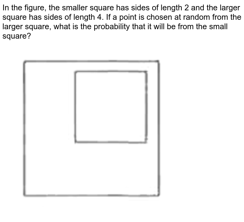 """In the figure, the smaller square has sides of length 2 and the larger square has sides of length 4. If a point is chosen at random from the larger square, what is the probability that it will be from the small square? <br> <img src=""""https://d10lpgp6xz60nq.cloudfront.net/physics_images/NOV_GRE_MAT_PRP_P1_C23_SLV_006_Q01.png"""" width=""""80%"""">"""