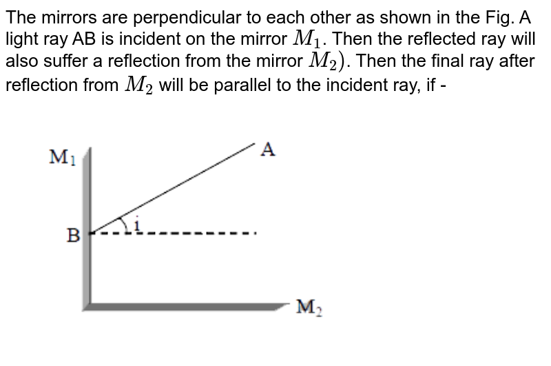 """The mirrors are perpendicular to each other as shown in the Fig. A light ray AB is incident on the mirror `M_(1)`. Then the reflected ray will also suffer a reflection from the mirror `M_(2))`. Then the final ray after reflection from `M_(2)` will be parallel to the incident ray, if - <br> <img src=""""https://d10lpgp6xz60nq.cloudfront.net/physics_images/MOT_CON_NEET_PHY_C08_E03_002_Q01.png"""" width=""""80%"""">"""