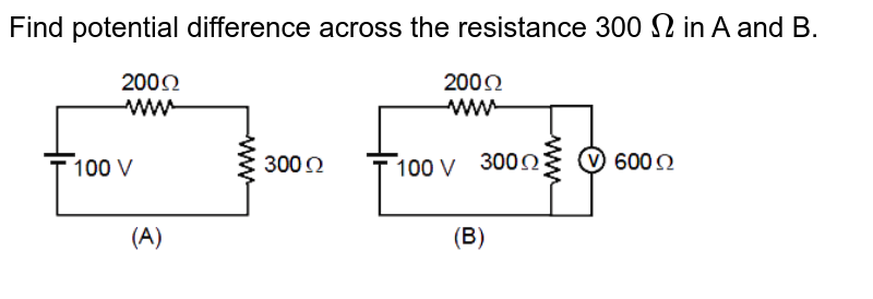 """Find potential difference across the resistance 300 `Omega` in A and B.  <br>  <img src=""""https://d10lpgp6xz60nq.cloudfront.net/physics_images/MOT_CON_JEE_PHY_C24_SLV_042_Q01.png"""" width=""""80%"""">"""