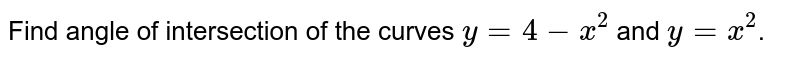 Find angle of intersection of the curves `y=4 - x^2` and `y=x^2`.