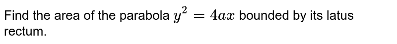 Find   the area of the parabola `y^2=4a x` bounded by its latus rectum.