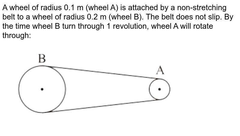 """A wheel of radius 0.1 m (wheel A) is attached by a non-stretching belt to a wheel of radius 0.2 m (wheel B). The belt does not slip. By the time wheel B turn through 1 revolution, wheel A will rotate through: <br> <img src=""""https://d10lpgp6xz60nq.cloudfront.net/physics_images/VMC_PHY_XI_WOR_BOK_01_C03_E02_072_Q01.png"""" width=""""80%"""">"""