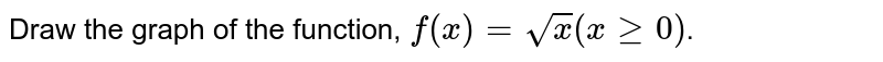 Draw the graph of the function, `f(x)=sqrt(x)(xge0)`.