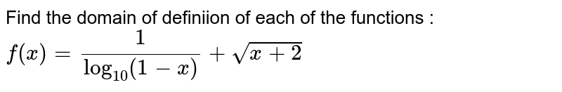 Find the domain of definiion of each of the functions : <br> `f(x)=(1)/(log_(10)(1-x))+sqrt(x+2)`