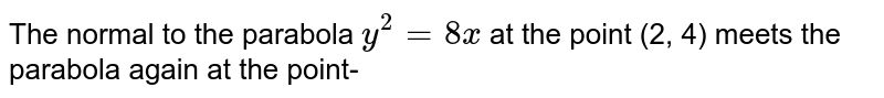 The normal to the parabola `y^(2)=8x` at the point (2, 4) meets the parabola again at the point-