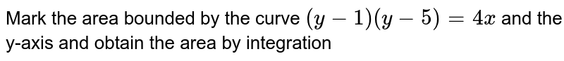 Mark the area bounded by the curve `(y-1) (y-5) =4x ` and the y-axis and obtain the area by integration