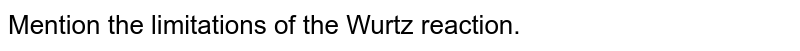 Mention the limitations of the Wurtz reaction.