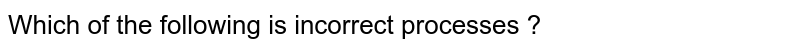 Which of the following is incorrect processes ?