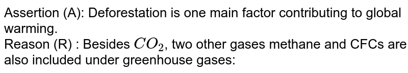 Assertion (A): Deforestation is one main factor contributing to global warming. <br> Reason (R) : Besides `CO_(2)`, two other gases methane and CFCs are also included under greenhouse gases:
