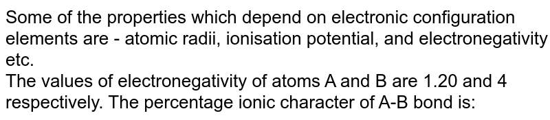 Some of the properties which depend on electronic configuration elements are - atomic radii, ionisation potential, and electronegativity etc. <br> The values of electronegativity of atoms A and B are 1.20 and 4 respectively. The percentage ionic character of A-B bond is: