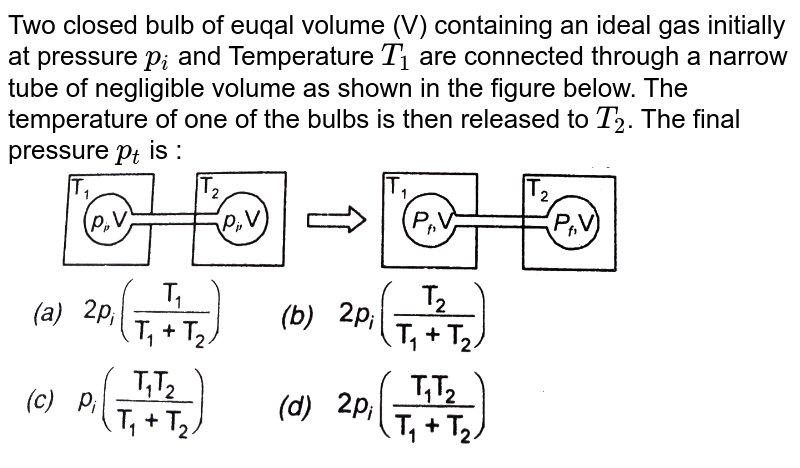 """Two closed bulb of euqal volume (V) containing an ideal gas initially at pressure `p_(i)` and Temperature  `T_(1)` are connected  through a narrow tube of negligible volume as shown in the figure below. The temperature of one of the bulbs is then released to `T_(2)`. The final pressure `p_(t)` is : <br> <img src=""""https://d10lpgp6xz60nq.cloudfront.net/physics_images/SKM_COMP_CHM_V01_XI_C05_E01_262_Q01.png"""" width=""""80%"""">"""