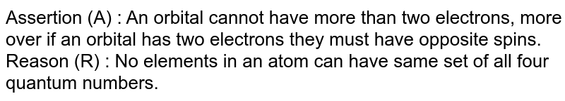 Assertion (A) : An orbital cannot have more than two electrons, more over if an orbital has two electrons they must have opposite spins. <br> Reason (R) : No elements in an atom can have same set of all four quantum numbers.