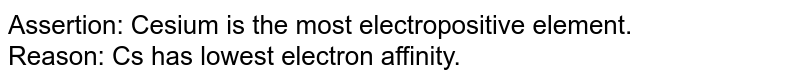 Assertion: Cesium is the most electropositive element. <br> Reason: Cs has lowest electron affinity.
