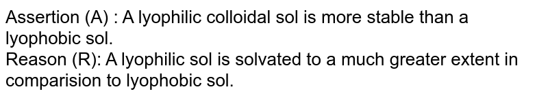 Assertion (A) : A lyophilic colloidal sol is more stable than a lyophobic sol. <br> Reason (R): A lyophilic sol is solvated to a much greater extent in comparision to lyophobic sol.