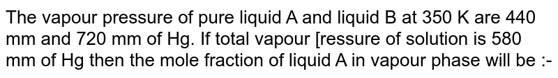 The vapour pressure of pure liquid A and liquid B at 350 K are 440 mm and 720 mm of Hg. If total vapour [ressure of solution is 580 mm of Hg then the mole fraction of liquid A in vapour phase will be :-