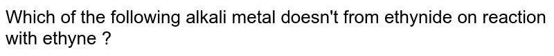 Which of the following alkali metal doesn't from ethynide on reaction with ethyne ?