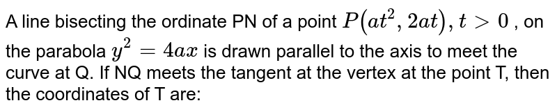 A line bisecting the ordinate PN of a point `P(at^2,2at),6 gt 0` , on the parabola `y^2=4ax` is drawn parallel to the axis to meet the curve at Q. If NQ meets the tangent at the vertex at the point T, then the coordinates of T are: