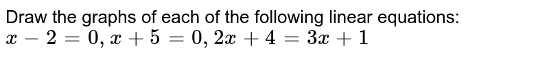 Draw the graphs of each of the following linear equations: `x-2=0,x+5=0,2x+4=3x+1`