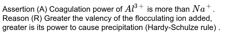 Assertion (A) Coagulation power of `Al^(3+)` is more than `Na^(+)`. <br> Reason (R) Greater the valency of the flocculating ion added, greater is its power to cause precipitation (Hardy-Schulze rule) .