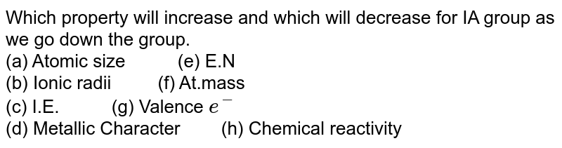 """Which property will increase and which will decrease for IA group as we go down the group.  <br> (a) Atomic size `""""    """"` (e) E.N <br> (b) Ionic radii `""""   """"` (f) At.mass <br> (c) I.E. `""""    """"` (g) Valence `e^(-)` <br> (d) Metallic Character `""""  """"` (h) Chemical reactivity"""
