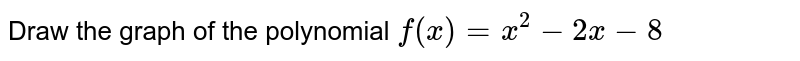 Draw the graph of the polynomial `f(x)=x^2-2x-8`